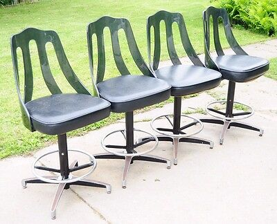 Lot Of 4 Vintage Midcentury Modern Lucite Back Barstools Atomic