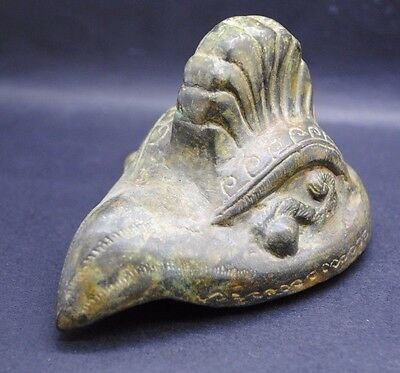 Large Antique Chinese Bronze Bird Head Lid From Pot