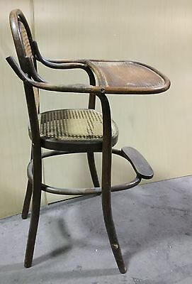 "Vintage Antique Child Baby High Chair Bentwood / Cane  ""cs620"""