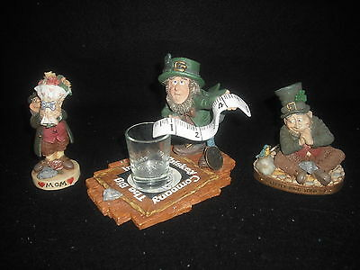 Finnians Blarney Stone Enterprises Leprechaun  Set Of 3 Amusing Figures