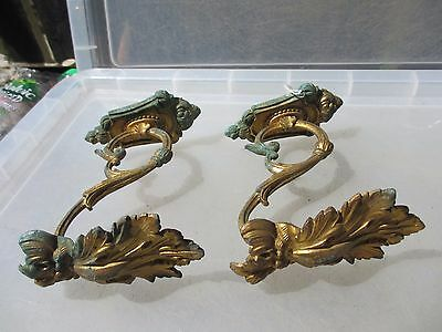 Antique Brass Curtain Tie Backs Hooks French Rococo Baroque Old Late 1800's