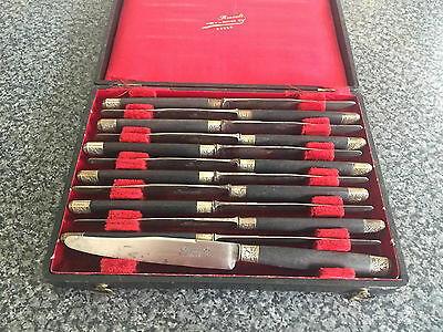 12 Vintage Renoult Rouen France Boxed Cutlery Wooden & Filigree Handle Boxed