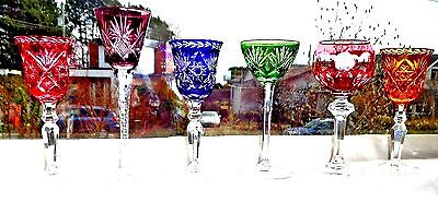 6 Crystal Stemmed Glasses Jewel Colors Cut To Clear Bohemia Czech