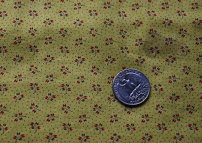 1/2 yd 1880-90's cotton fabric, Yellow with tiny red flowers