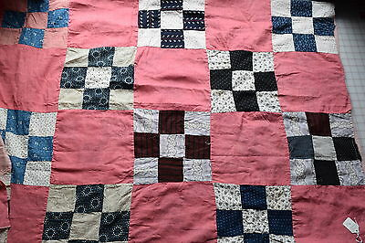 24 1870-90's quilt blocks, 9 patch, in top-lots of fabulous fabrics!