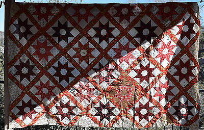 Stunning 1860-80 Red Star quilt top, graphic and beautiful, great fabrics!