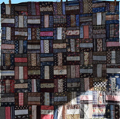 Small 1870-90 RAil Fence quilt top, a little jewel of a top, great fabrics!