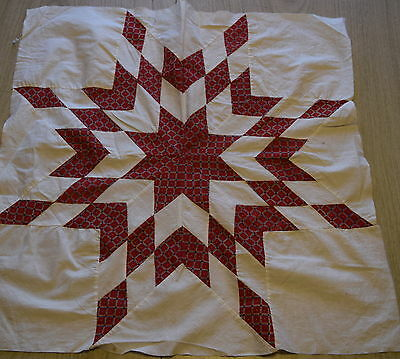 1 1850's Quilt block, Large Turkey red Lone Star, fabulous fabrics!