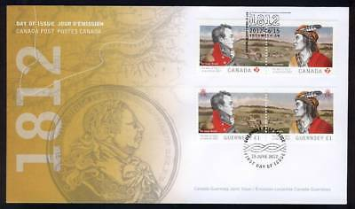 wca. Military 1812 WAR FDC with 2 pairs  Joint Issue CANADA - GUERNSEY 2012
