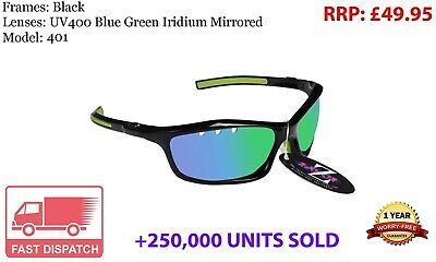 RayZor Uv400 Black Vented Green Mirrored Lens Sports Wrap Sunglasses RRP£49 (401