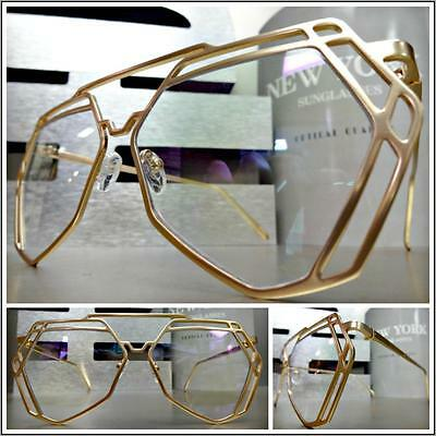 New CLASSIC VINTAGE RETRO Style Clear Lens EYE GLASSES Gold Metal Hexagon Frame