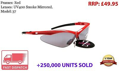 RayZor Uv400 Red Sports Wrap Sunglasses Smoked Mirrored Lens RRP£49 (37)
