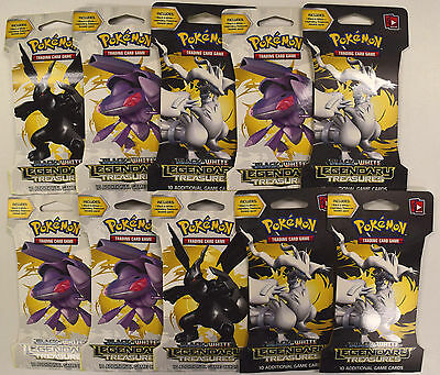 Pokemon Black & White Legendary Treasures Lot of 10 Blister / Booster Packs
