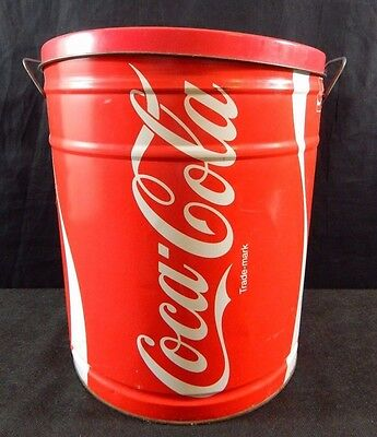 Coca Cola Coke 1983 Official Licensed Product Trash Can Bucket Metal