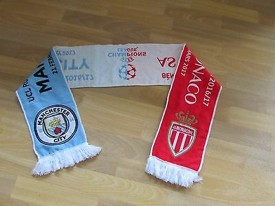 Official UEFA Champions League MANCHESTER City v AS Monaco 2016 FOOTBALL Scarf
