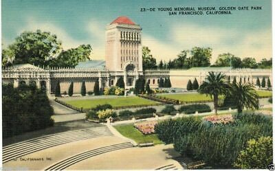 San Francisco DE YOUNG MEMORIAL MUSEUM Vintage Linen Postcard Unposted