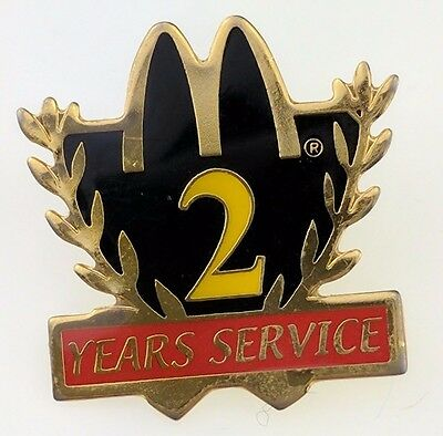 McDonald's 2 Years Service Pin Employee Crew Black Reward Golden Arches Two VTG