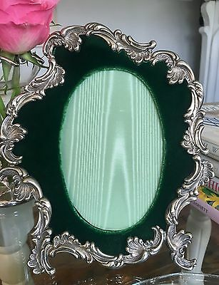 Beautiful ANTIQUE Ornate Sterling SILVER PICTURE FRAME Scalloped 7 1/2""