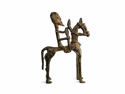 Rare Antique African Cast Bronze Tribal Dogon sculpture - a Horse Riding Warrior