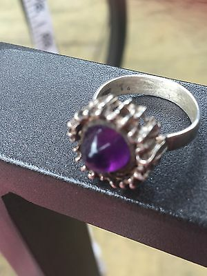 Vintage Modernist Cabochon Amethyst Ring By PGW
