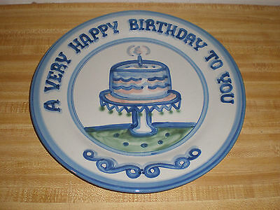 """M. A. Hadley Pottery A Very Happy Birthday to You 12 1/2"""" Plate"""