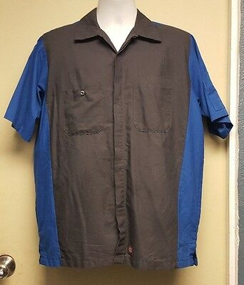 Red Kap Blue/Gray Mechanic Shop Short Sleeve Work Shirt
