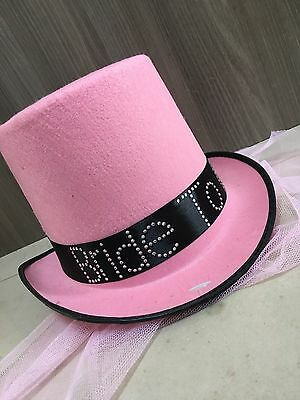 Bride To Be Top Hat with Bridal Veil for Hen Stag Fancy Dress Accessory