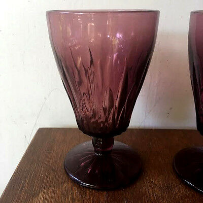 Set of 10 Vintage Purple Heavy Amethyst Glass Wine Goblet Sherry Water Glasses