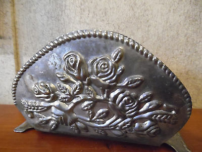 Antique Silver Napkin Holder With Embossed Roses