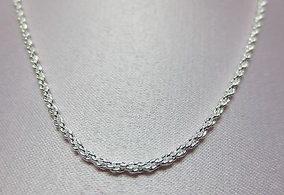 16-30  Inch Sterling Silver Plated 1.8Mm Solid Rope Chain Necklace