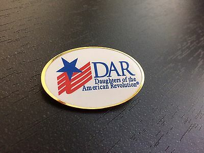 DAR Daughters of the American Revolution Oval Logo Flag Star Pin Red Blue & Gold