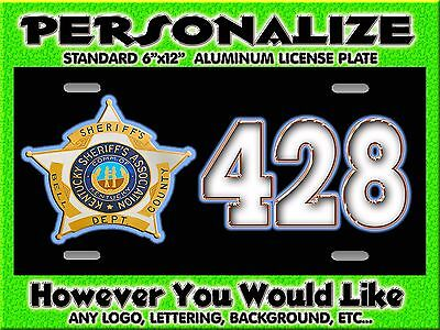 Any Logo Sheriff Police  Background PERSONALIZED FREE Monogrammed License Plate
