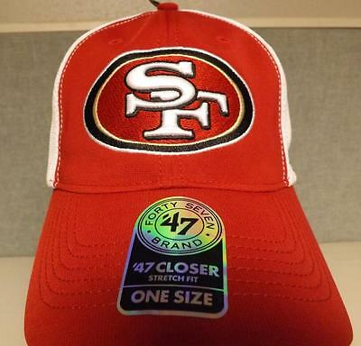New San Francisco 49ers Mens Adult Unisex OSFA StretchFit 47' Brand Cap Hat $28