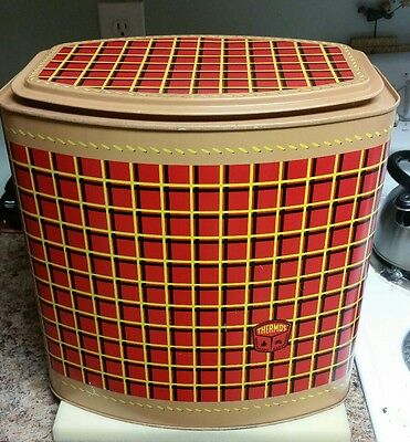 VTG THERMOS OVAL COOLER ICE PAIL Bucket Retro PLAID Picnic Basket Camp Storage