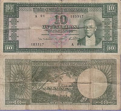 Turkey 10 Lira Banknote,(1951-60) Very Good Condition Cat#161-A-3317