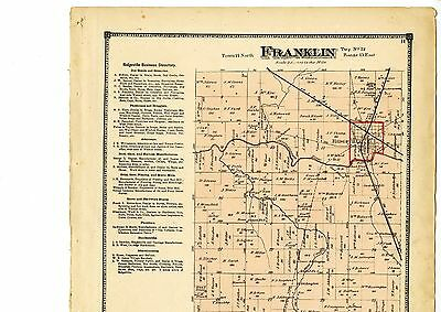 1874 Map of Franklin, Indiana, with family names, from Atlas of Randolph County