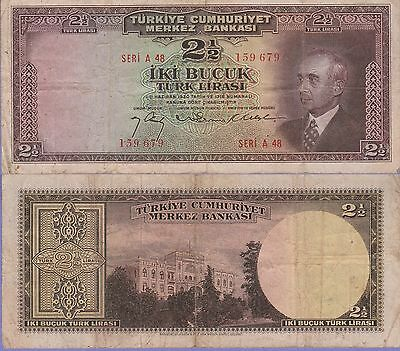 Turkey 2 1/2 Lira Banknote,(27.3.1947) Very Fine Condition Cat#140-9679