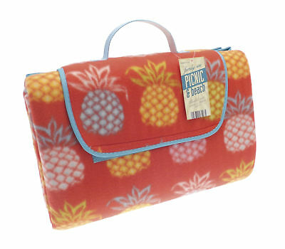 Country Club Jumbo Picnic Beach Blanket Rug Fleece Pineapple Red Waterproof Back