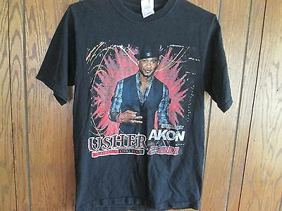 Adult Usher Akon Concert Tour T-Shirt 2011 Rap Tee Small