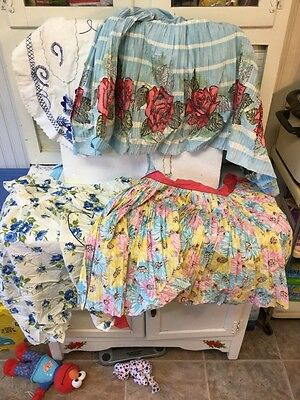 Lot 4 Vintage 1950's Kitchen Apron - 3 Half Aprons & 1 Full - Colorful Flowers