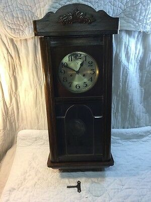 Vintage Magnificent Germany Mauthe Walnut Wall Regulator Clock w Chime Germany