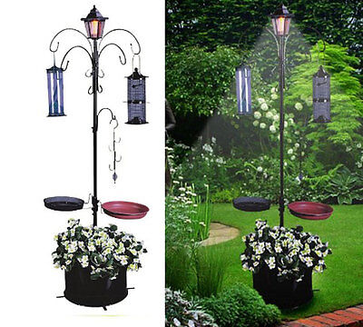 Bird Solar Feeder Light Bath Garden Table Station Stand House Seed Planter Tray