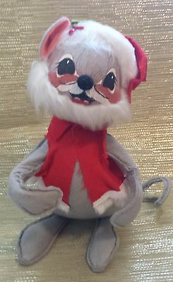 """Annalee Doll Vintage 12"""" Christmas Mouse with beard. 1965"""