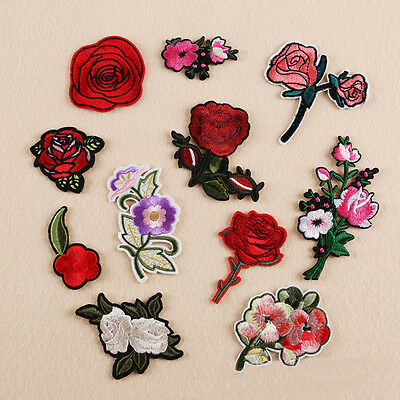 11Style Rose Flower Floral Embroidery Badge Patch Sew Iron On Applique DIY Craft