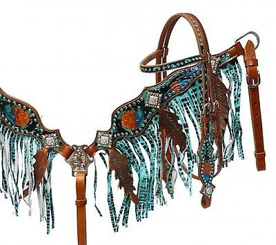 Showman Metallic Painted Headstall & Fringe Breast Collar Set! NEW HORSE TACK!