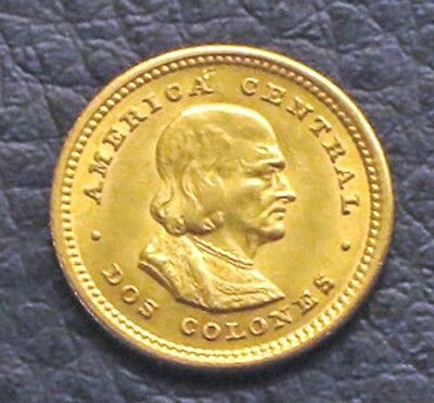 """1922 Costa Rica-2 Colones Gold Coin.  """"MS"""" Uncirculated -   KM#:139"""