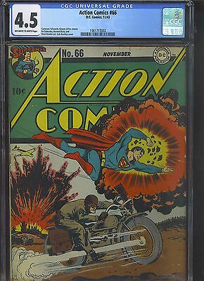 ACTION COMICS #66 CGC VG+ 4.5; OW-W; WWII motorcycle cover!