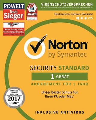 Norton (Internet) Security 2017 1 Jahr 1 Pc Win / Mac / Android - Blitzversand