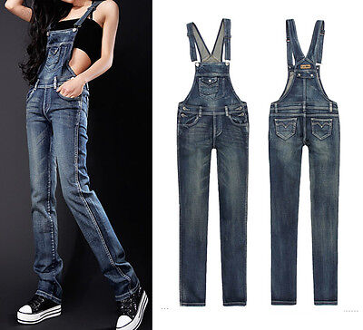 Women's Washed Blue Denim Pockets Overall Pants Jumpsuit Jeans Romper Trousers