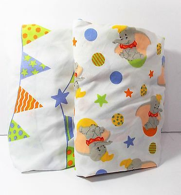 Disney Baby Crib Sheets Lot of 2 Dumbo & Circus Banners Unisex Multi Color